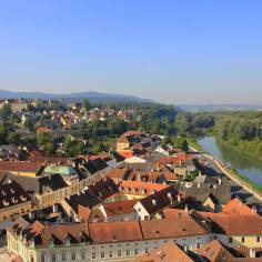 The town of Melk viewed from the Abbey
