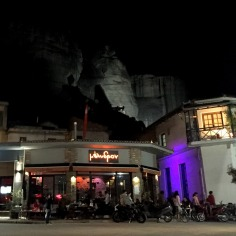 several bars, souvenir shops and cafes are open late in the town of Kalambaka