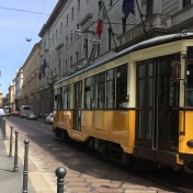 Lovely old trams in the city of Milan.
