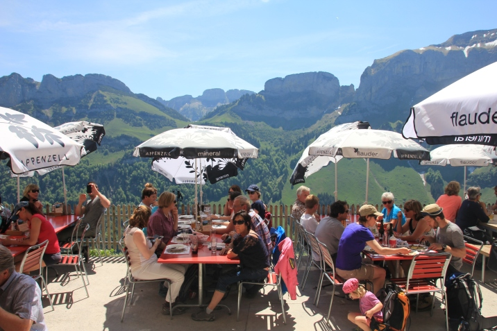 The terrace where you can enjoy local Swiss food and drinks with panoramic views.